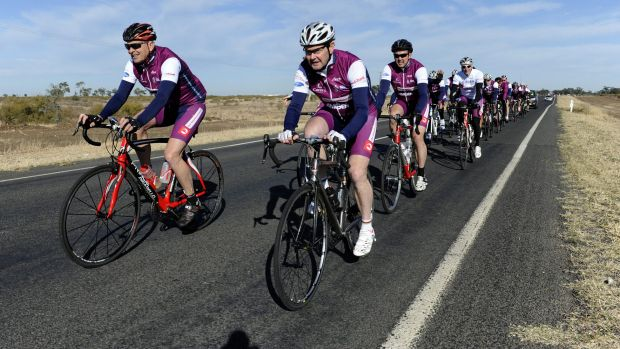 Then social services minister Kevin Andrews (front right) leads the Pollie Pedal charity ride out of Moree, NSW, in ...