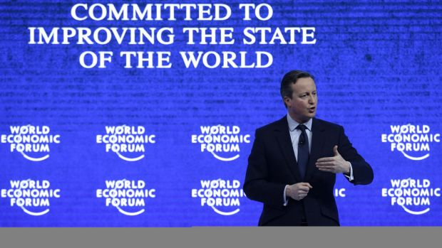 British Prime Minister David Cameron at the World Economic Forum in Davos, Switzerland.