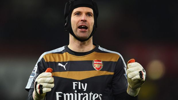 Making a difference: Petr Cech applauds the fans after the game against Stoke City.