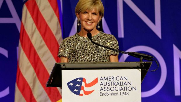 Julie Bishop delivers a speech in New York earlier in the week.