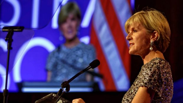 Foreign Minister Julie Bishop delivers a speech at the American Australian Association Australia Day gala in New York, ...