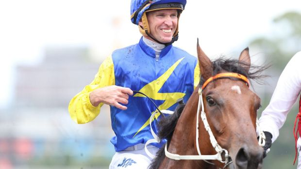 All smiles: Glyn Schofield and Le Romain after winning at Randwick on Saturday.