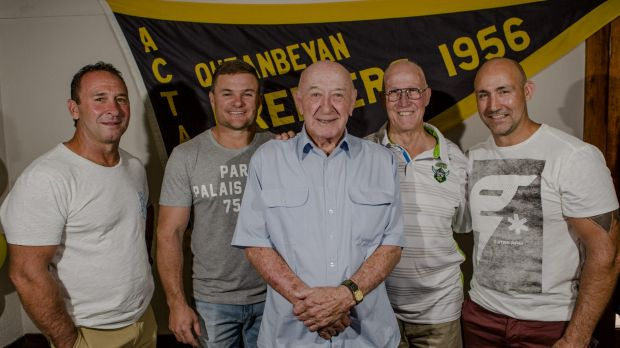 Bobby Griffin celebrated his 80th birthday on Saturday with Raiders coach Ricky Stuart, Simon Woolford, John McIntyre ...