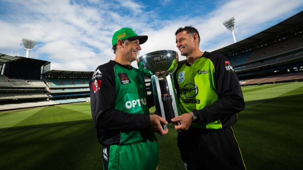 Brotherly love: David and Michael Hussey with the BBL trophy ahead of Sunday's final between the Stars and Thunder.