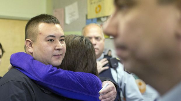 La Loche mayor Kevin Janvier and legislator Georgina Jolibois hug after speaking with media about the ongoing ...