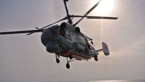 A Russian navy helicopter takes off from the Vice-Admiral Kulakov. Russian air strikes have targeted Syrian rebel groups ...