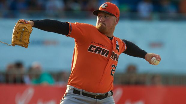 Canberra Cavalry pitcher Steven Kent was on fire against the Adelaide Bite on Saturday.
