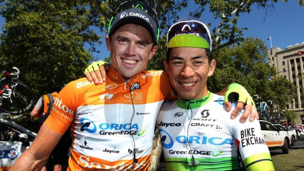 Happy pair: Orica - GreenEdge duo SImon Gerrans and Caleb Ewan both had reason to smile after the final stage of the ...