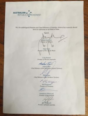 A declaration for an Australian republic signed by premiers Daniel Andrews (Labor, Victoria), Mike Baird (Liberal, NSW), ...