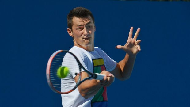 Bernard Tomic during a practice session. Australian Open 2016. 24th January 2016. The Age Fairfaxmedia News Picture by ...