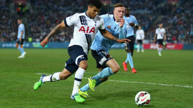 On the move: Alex Gersbach in action in the pre-season friendly against Tottenham.