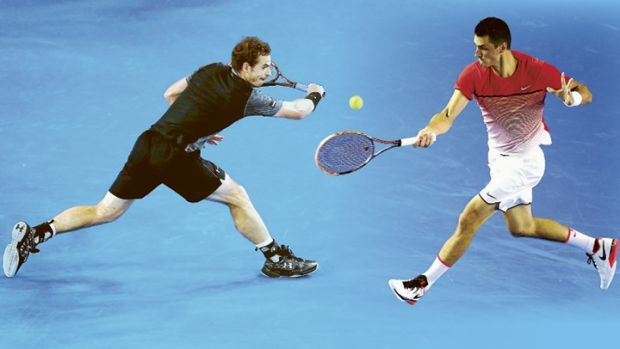 Andy Murray and Bernard Tomic take to Rod Laver Arena on Monday night.