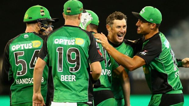 Key wicket:  David Hussey of the Stars celebrates taking the wicket of Usman Khawaja during the Big Bash final.