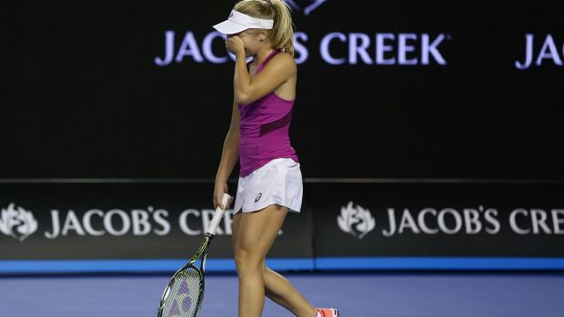 Ended in tears: Daria Gavrilova after losing to Carla Suarez Navarro.