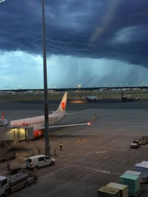 Threatening looking skies over the airport captured by Mitchell Wright.
