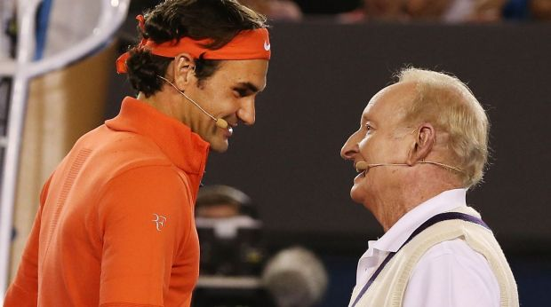 Rod Laver with Roger Federer  during a charity match at Melbourne Park in 2014.