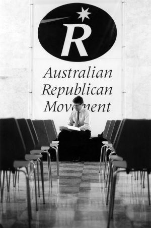 In October 1994, the chairman of the Australian Republican Movement, Malcolm Turnbull, prepared for a presentation under ...