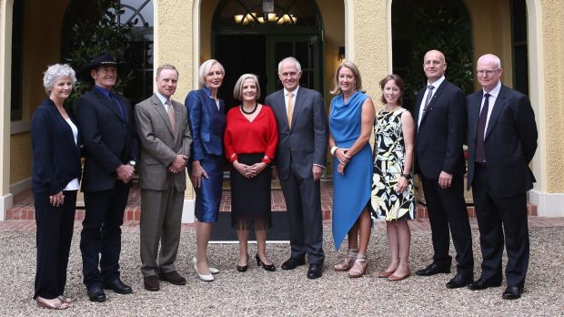 The Turnbulls with Australian of the Year finalists on Monday at The Lodge, Canberra.