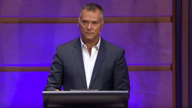 Stan Grant delivers his speech at the  IQ2 racism debate.