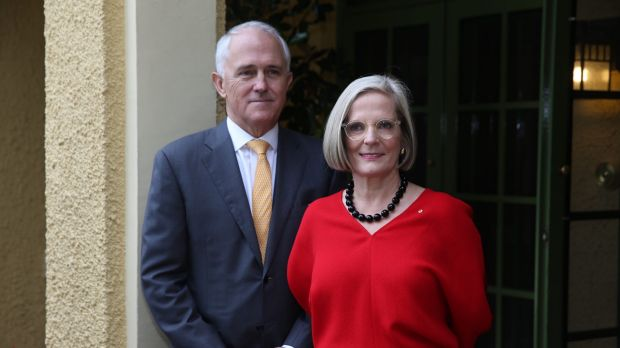 Prime Minister Malcolm Turnbull and his wife, Lucy, at The Lodge.