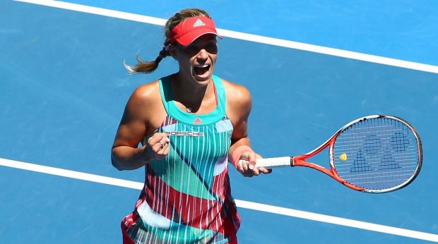 Happy to advance: Angelique Kerber celebrates  her win.