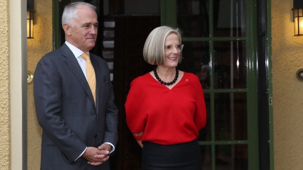 Prime Minister Malcolm Turnbull, with  Lucy Turnbull at a morning tea for theAustralian of the Year finalists at The ...