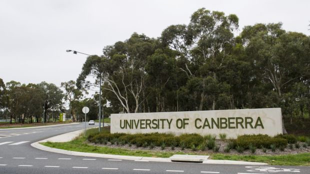 One of the entrances to the 120-hectare University of Canberra campus in Bruce.