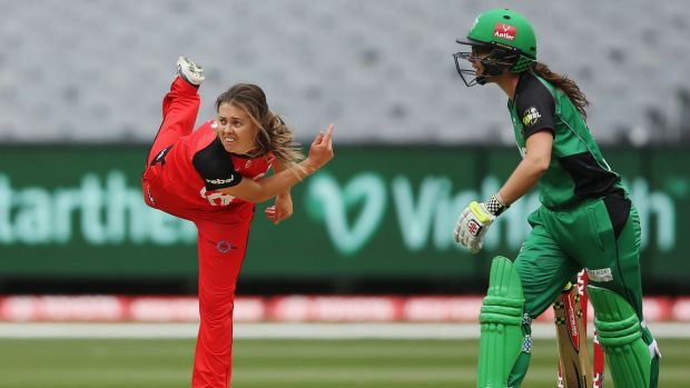 Molly Strano, of the Renegades, bowls against the Stars in Melbourne during the Women's Big Bash League.