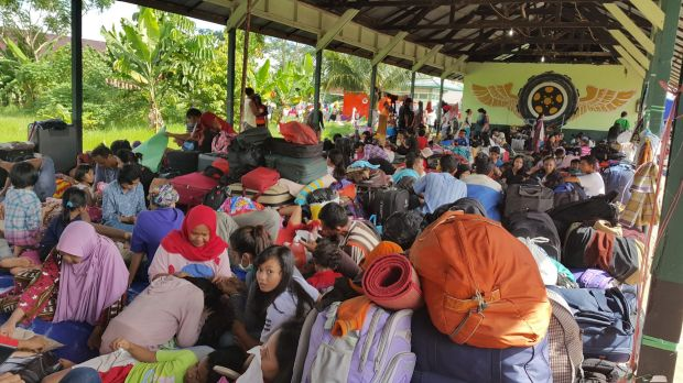 Former members of the Gafatar sect at a temporary evacuation camp in Pontianak, West Kalimantan, on Monday.