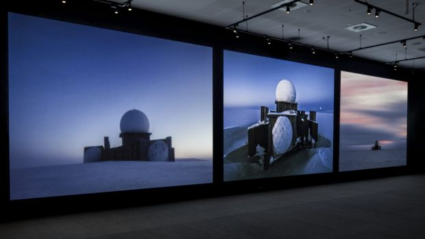 Installation view of Inside the dome (DYE 2) by Murray Fredericks and Tom Schutzinger, at Geelong Art Gallery.