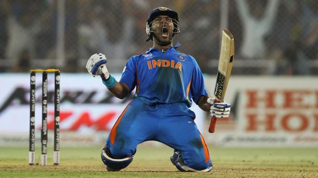 Yuvraj Singh playing in a T20 international for India. Yuvraj went to school with Amit Sharma.
