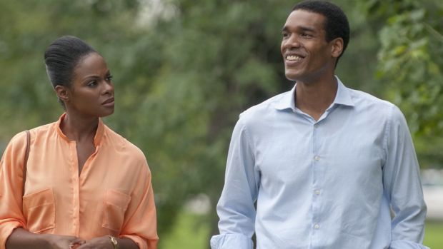 Tiki Sumpter as the future Michelle Obama and Parker Sawyers as Barack Obama in <i>Southside With You</i>.