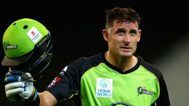 Champion finish: Thunder captain Michael Hussey acknowledges the MCG crowd after being dismissed in his final innings on ...