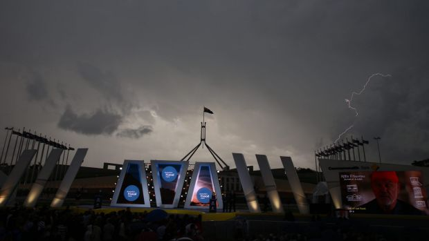 A dramatic storm passes over Australian of the Year ceremony on Monday.