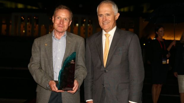 David Morrison, 2016 Australian of the Year, with Prime Minister Malcolm Turnbull at Parliament House.