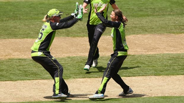 Sydney Thunder spinner Erin Osborne (right) has lost her WBBL medal.