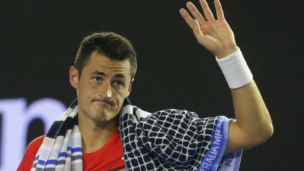 Bernard Tomic after being defeated by Andy Murray.