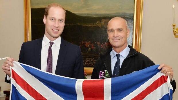 British adventurer Henry Worsley, right, with Britain's Prince William as they hold the British flag in London. Worsley ...