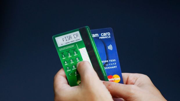 The PIN number is entered onto the back of a card which generates a new PIN for each transaction.