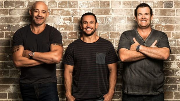 Passionate speech: Matthew Johns, centre, with Grill Team co-hosts Mark Geyer and Gus Worland.