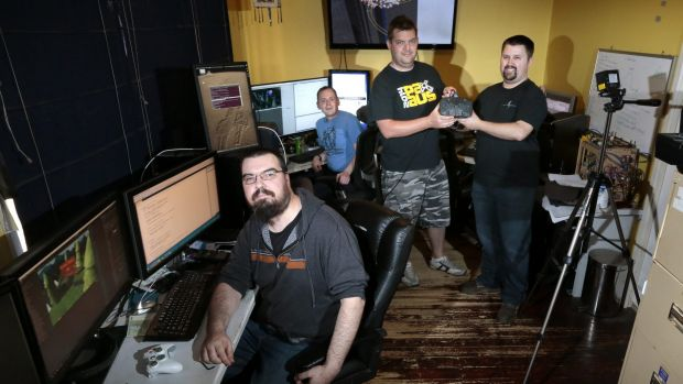Lightning Rock programmers Stephen Shorrock and Ben Doobov, artist Chris Hahn and producer Shannon Pickles in their ...