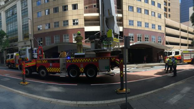 NSW Fire Brigade attend the building fire in Castlereagh Street.