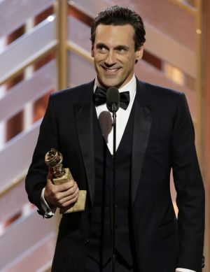 Jon Hamm accepts the award for best actor in a TV drama series at the Golden Globe Awards in 2016.