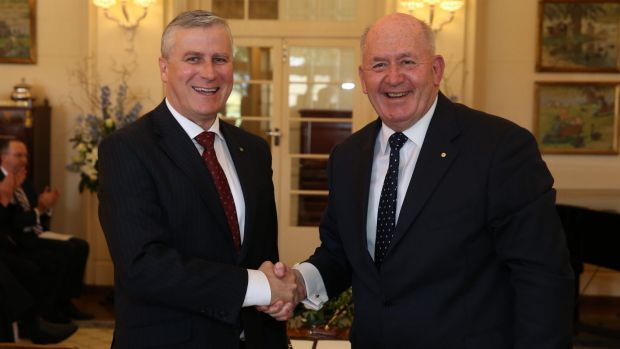 Michael McCormack is sworn in as Assistant Minister to the Deputy Prime Minister by Governor-General Sir Peter Cosgrove ...