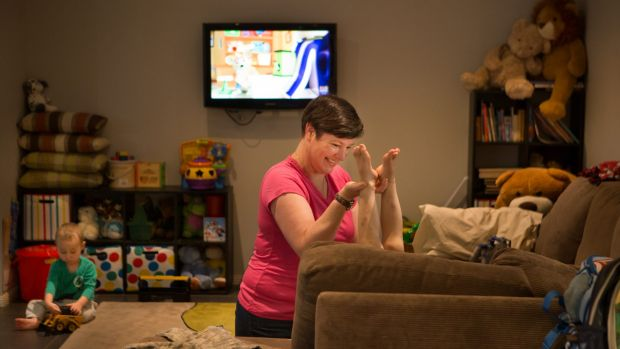 """""""There are good days and bad days"""": Anna Malcolm playing with Max, 3, (right) and Cameron, 2."""