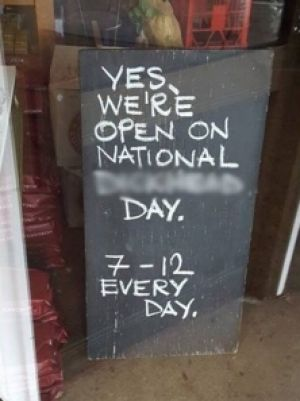 The sign erected outside the cafe on the NSW south coast.