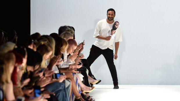 Tome designer Ryan Lobo thanks the audience after the Tome show at Mercedes-Benz Fashion Week Australia 2015 at ...