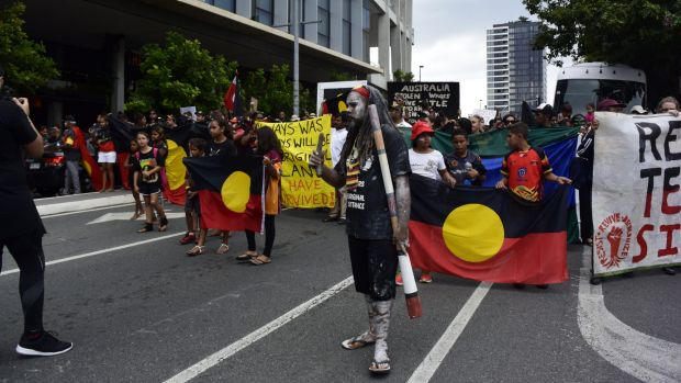 Thousands gather in solidarity at Brisbane's Invasion Day Rally.