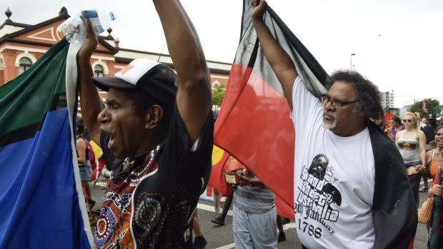 Protesters take to the streets at Brisbane's Invasion Day Rally.