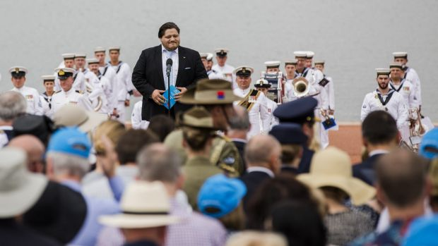 The 2016 Australia Day  Citizenship Ceremony at Canberra. Diego Torre singing the national anthem.